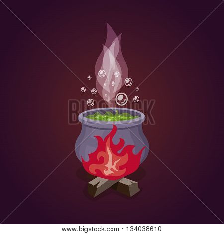 Vector cauldron with colorful witches magic potion. Fire and smoke,
