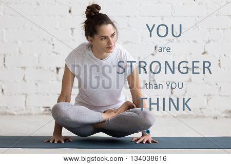 Yoga Indoors Image With Motivational Phrase