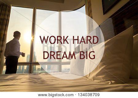 Business Man Morning. Motivational Text