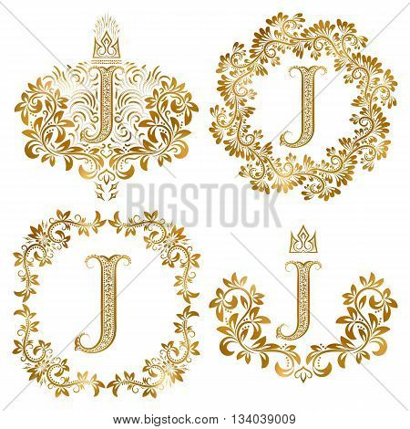 Golden letter J vintage monograms set. Heraldic monogram in coats of arms form letter J in floral round frame letter J in wreath heraldic monogram in floral decoration with crown.