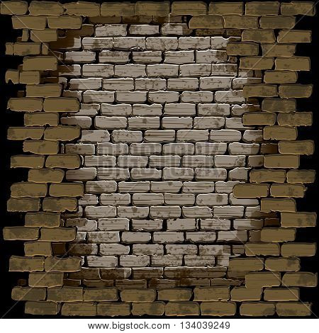 Vector illustration of a brick wall with a breach in a frame on a dark background. Can be used with any image or text on a black background.