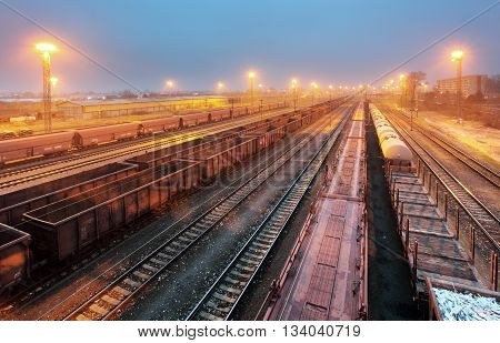 Train railway with freight station Transportation at night