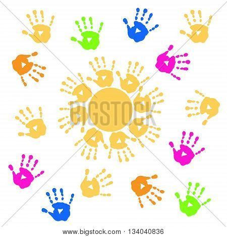 Background with a pretty sun and handprints