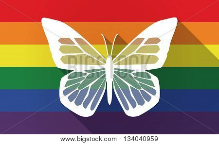 Long Shadow Gay Pride Flag With A Butterfly