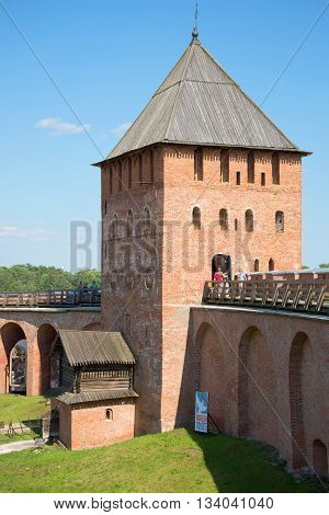 VELIKY NOVGOROD, RUSSIA - JULY 04, 2015: The ancient tower of the Kremlin in Veliky Novgorod, july afternoon. The view from the inner side. Historical landmark of the city Veliky Novgorod