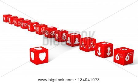 Red dice in a row with information security threat icons isolated on white 3D illustration cybersecurity concept