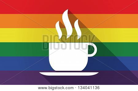 Long Shadow Gay Pride Flag With A Cup Of Coffee