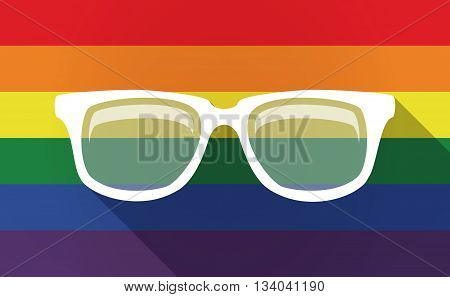 Long Shadow Gay Pride Flag With A Glasses