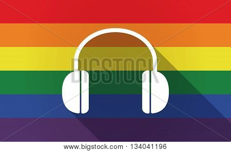 Long Shadow Gay Pride Flag With A Earphones
