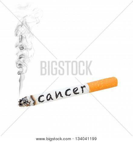 A burning cigarette with the word 'cancer' on the side