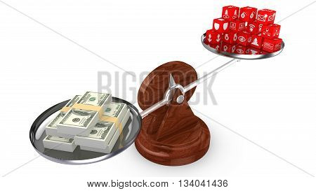 Balance with dollar and information security cubes 3D illustration cost of cybersecurity concept