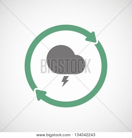 Reuse Line Art Sign With A Stormy Cloud