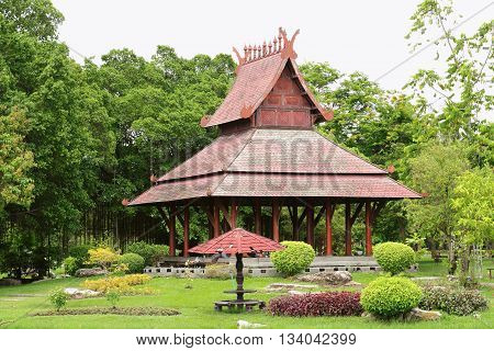 Bangkok-Thailand : 4 JUNE 2016 Pavilion on green garden at Suan Luang Rama 9