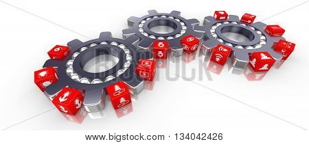 Three cogs transporting cubes with information security icons cybersecurity 3d Illustration