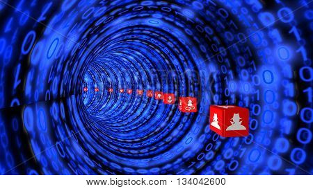 Tunnel with blue digital texture and red cubes with information security symbols flying through 3D illustration