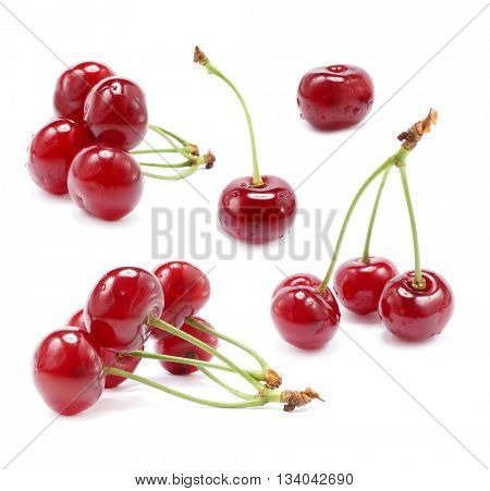 Sweet cherries isolated on a white background. Sweet ripe cherry