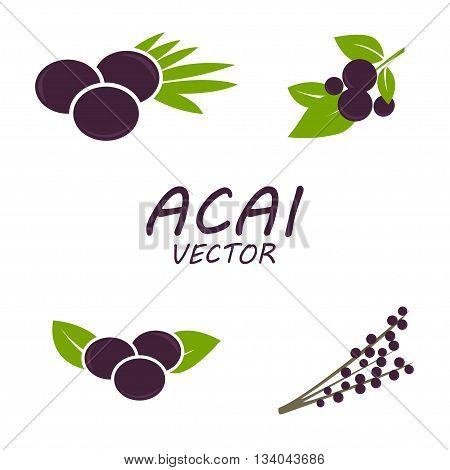 Vector Acai icons set on white background