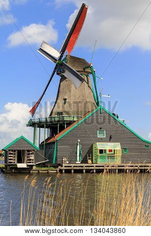 ZAANSE-SCHANS, NETHERLANDS - MAY 9, 2013: This is windmill which located in the area of North Holland.