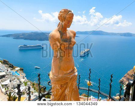 Santorini, Greece - June 10, 2015: Statue of Aphrodite in Santorini, Greece