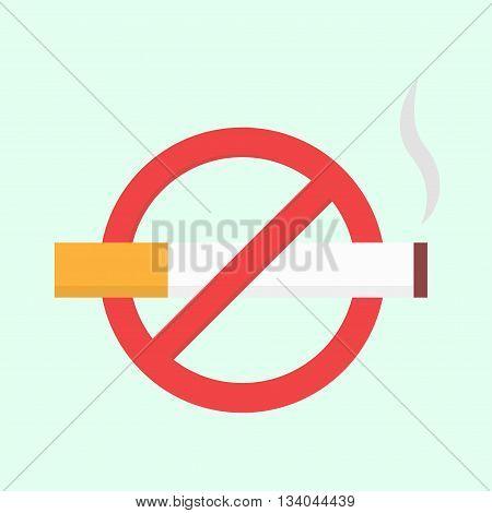 Flat no smoking icon. Vector isolated illustration