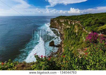Coast near Uluwatu temple in Bali Indonesia - nature background