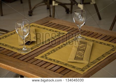 Laid Table In A Restaurant
