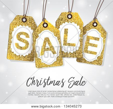 Christmas sale tags with gold glitter texture.