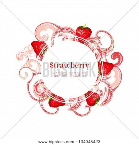 Isolated round frame with red strawberries and pink stain and splash. Cartoon style. Vector illustration for business presentation.