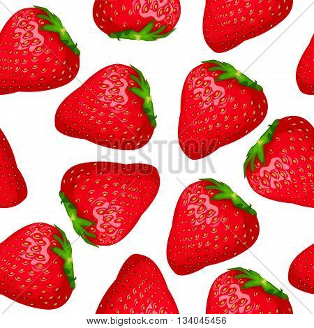 Seamless pattern of red strawberry on a white background. Cartoon style. Vector illustration.