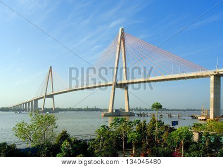 BEN TRE, Vietnam, March 16, 2016 cable-stayed bridge, Rach Mieu, Ten river crossing. Ben Tre province and connects two Tien Giang, Vietnam. Because Japanese architect construction
