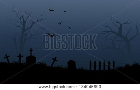 Silhouette of graveyard and bat halloween scary