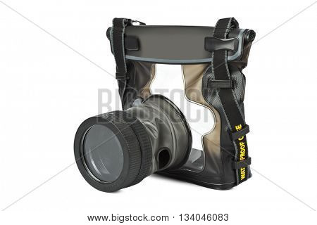 Waterproof case for camera isolated on white background