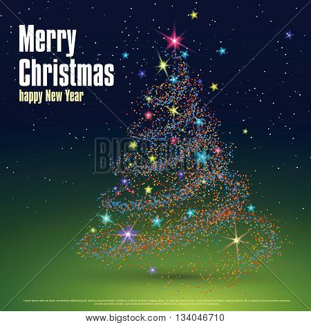 Christmas tree composed of particles, can be used as the cover of a Christmas greeting card.