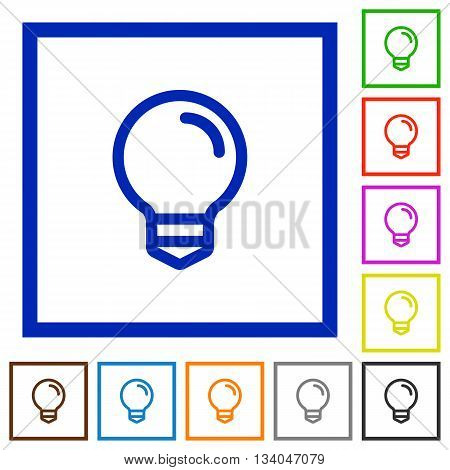 Set of color square framed light bulb flat icons