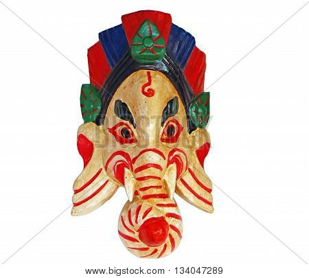 Ganesha mask on a white background. India