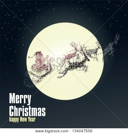 Christmas Eve Santa Claus giving gifts vector particles illustrations.