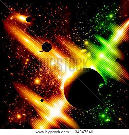 A retro outer space background with planets, sky and stars. Layered.