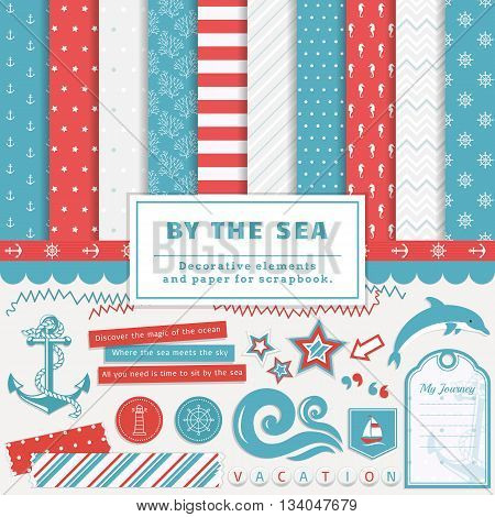 Sea scrapbooking kit. Collection of decorative elements and cute papers for creativity - to create scrapbook album or postcard in a nautical style. Vector illustration in blue red and white colors.