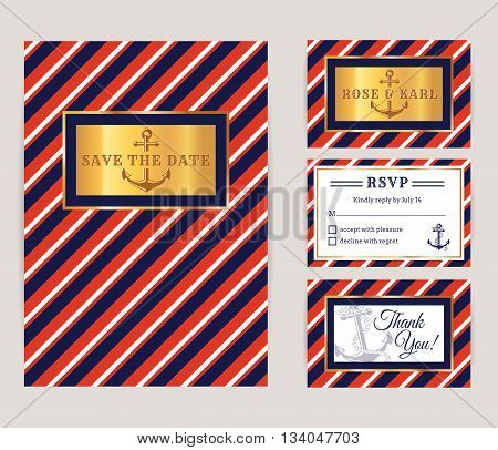Nautical wedding invitation cards. Sea theme bridal party. Collection of elegant banners in white red blue and gold colors. Vector set.