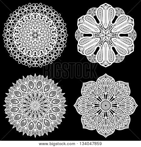Lace round paper doily. Set elements for cutting. Lace doily for cake. Vector illustration.