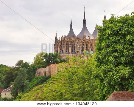 Famous gothic St. Barbara church in Kutna Hora Czech Republic. Landscape view on St. Barbara church from Brukner park.