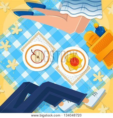 Girl and boy at the picnic vector illustration. Picnic basket, apple, sandwich, checkered tablecloth. Happy summer sea