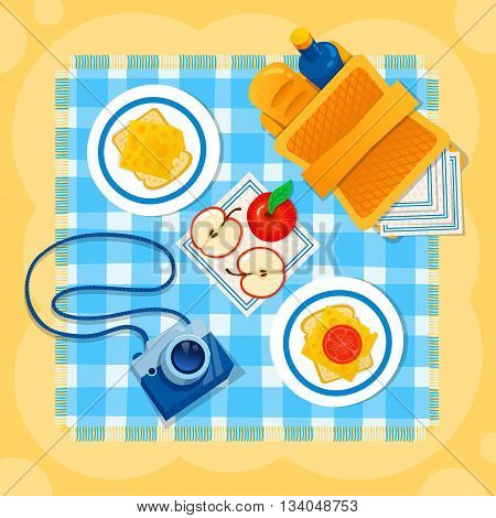 Picnic on the sand vector illustration. Picnic basket, camera, apple, sandwich, checkered tablecloth. Happy summer sea