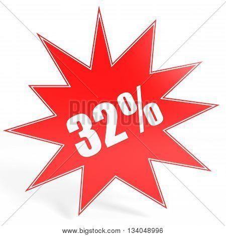 Discount 32 Percent Off. 3D Illustration.