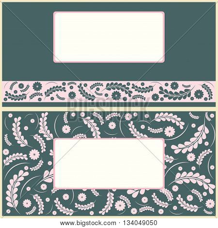 Set of floral greeting cards. Vecor image.