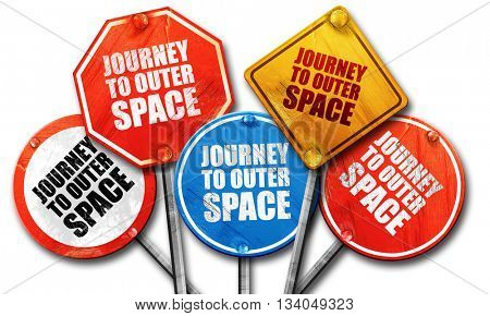 journey to outer space, 3D rendering, rough street sign collecti