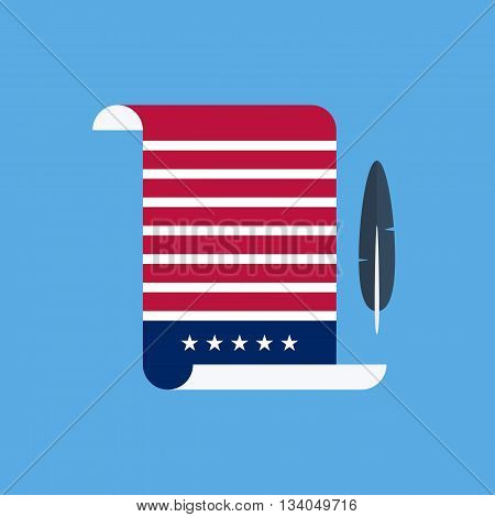 United States Declaration of Independence flat style design vector illustration.