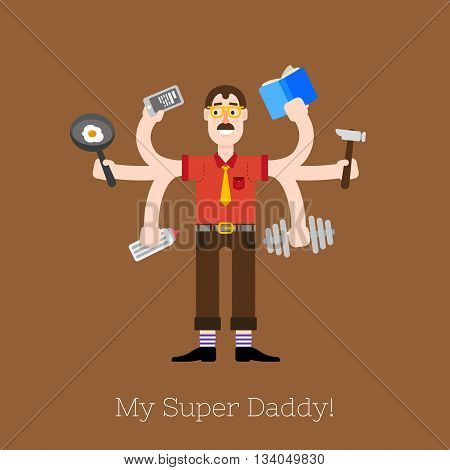 Busy multitasking man, father, dad, daddy, romantic husband, businessman, worker. Working, calling and doing exercise at the gym flat vector