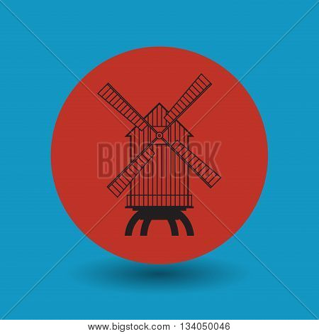 Abstract Windmill symbol or sign, vector illustration