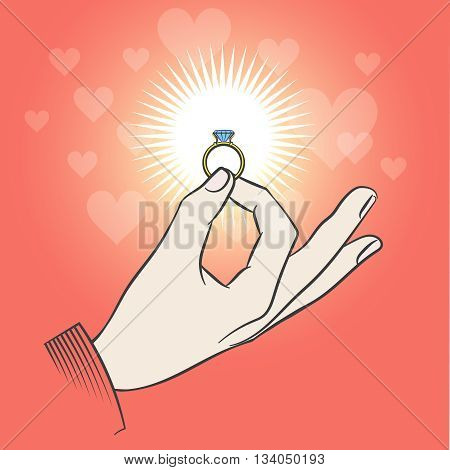 Male hand with wedding diamond ring. Marriage proposal vector illustration